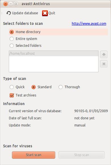 Avast!  Antivirus di Ubuntu 10.10