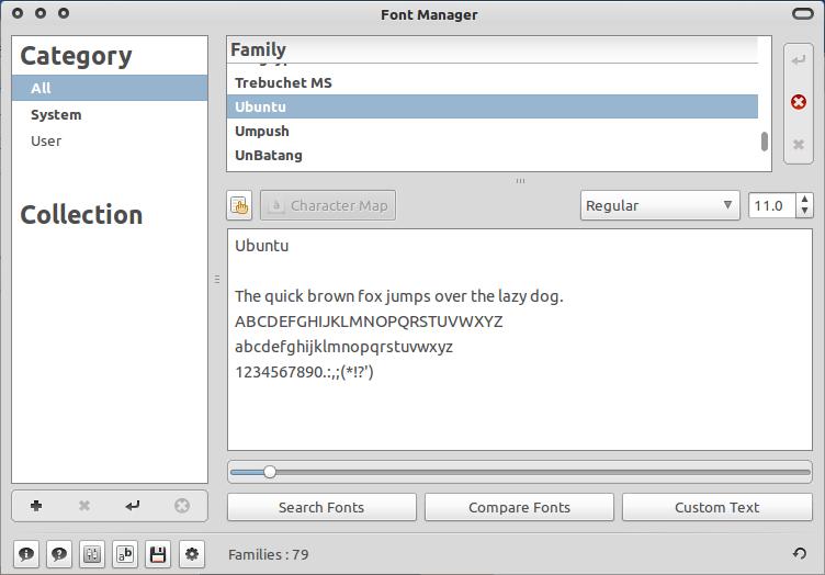Font Manager di Ubuntu 10.10 Maverick Meerkat
