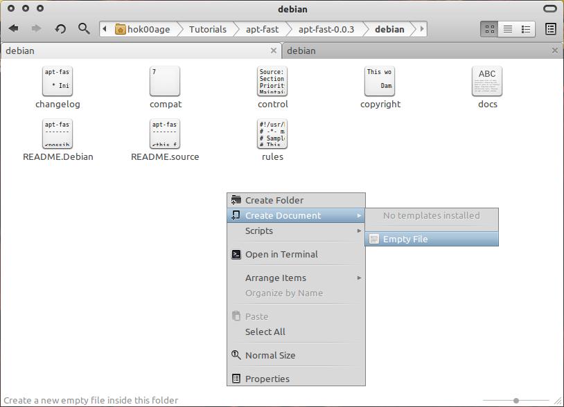Membuka file baru yang bernama: install