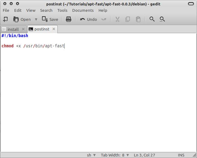 File postinst yang sudah selesai diedit