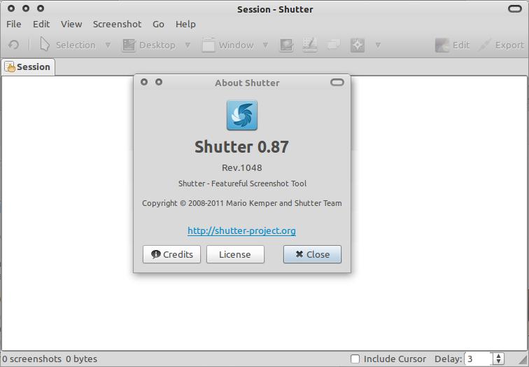 Shutter 0.87 di Ubuntu 10.10 Maverick Meerkat