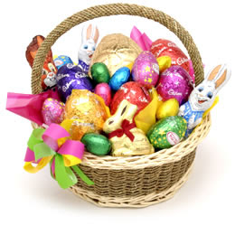 Dont read this its boring easter goodies much is too much there was a basket some fake grass and an assortment of chocolate jelly beans and marshmallow peeps or other non chocolate candies negle Choice Image