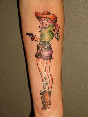 pin up punkrock cowgirl tattoo art