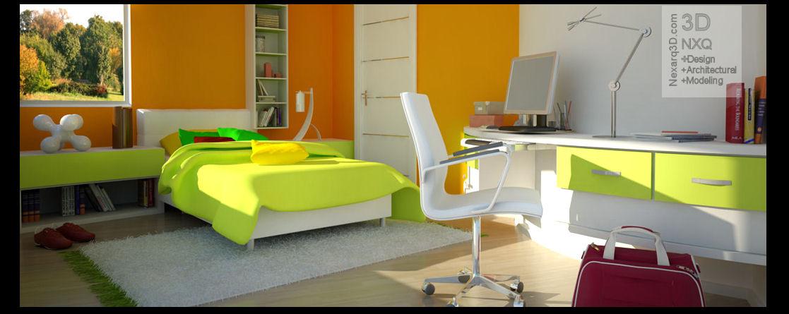 Render dormitorio juvenil imagen 3D