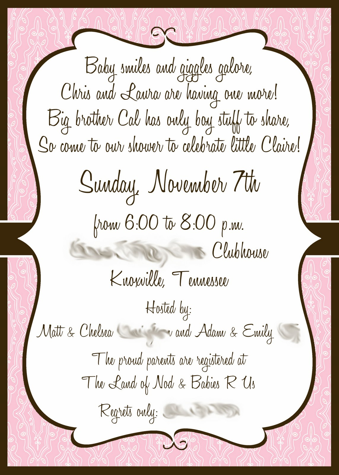 Alicia\'s Delightful Designs: A dainty pink baby shower invitation