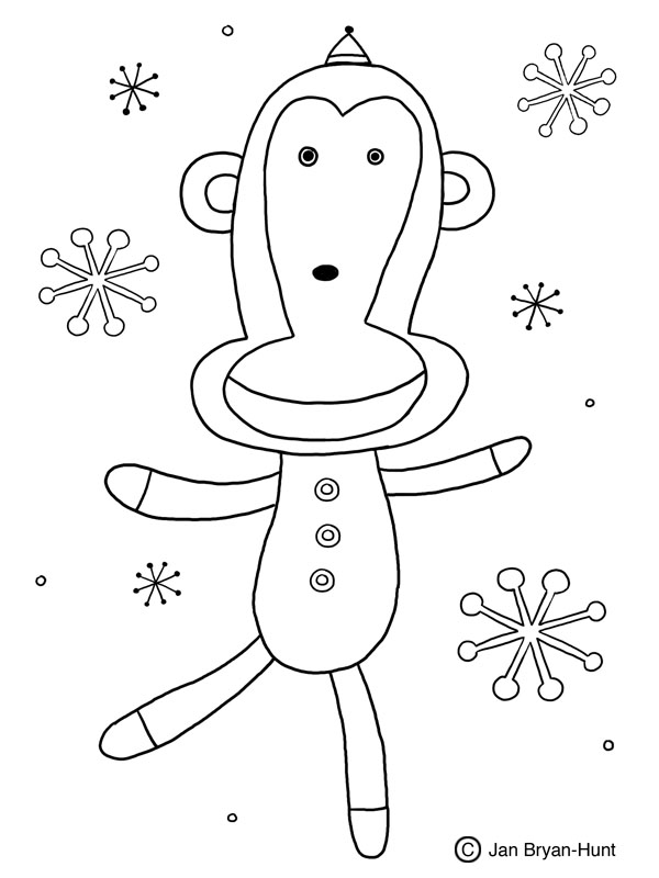 monkey christmas coloring pages - photo#22