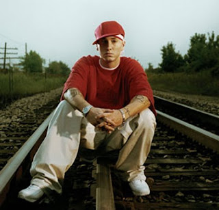 Eminem on the track Eminem in railway