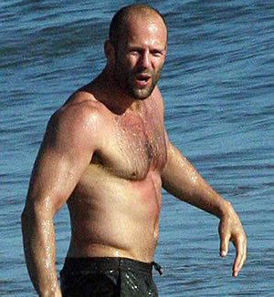 Jason Statham Taking a Dip in Malibu