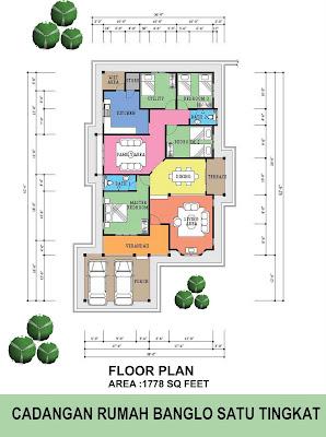 Pelan rumah B1-10 (Pelan rumah banglo setingkat 3 bilik / 2 bilik ...