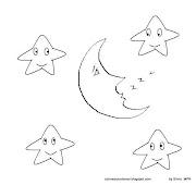 Colorear: Dibujos de Estrellas y dibujito de la Luna