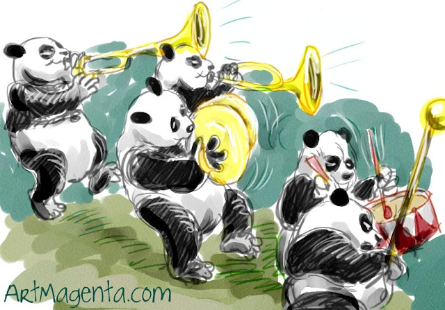 Pandas is a drawing by Artmagenta