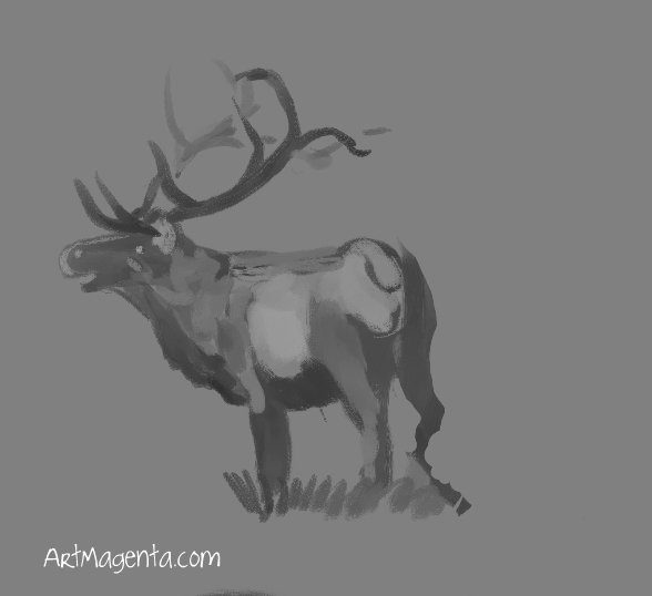 Reindeer is a sketch by Artmagenta
