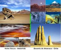 Fotos dos Vales Secos da Antártida e do Deserto do Atacama.