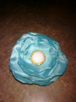 Light blue silky fabric flower clip