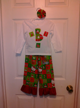 Christmas Hello Kitty Ruffle Pants with Applique Shirt and matching bow