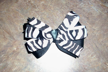 2 layer Black and White Zebra Bow
