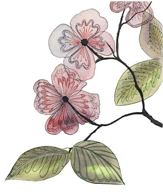 botanical watercolor by Olga Cuttell, bird wattercolor