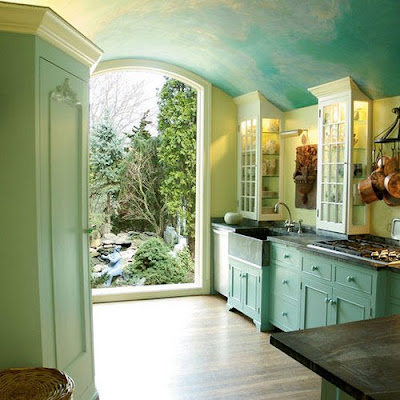 Beautiful sky blue kitchen, kitchen, interior design