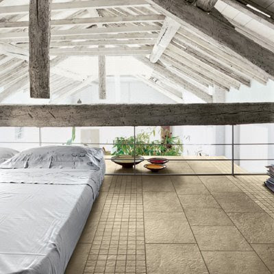 Earthy loft bedroom, interior design
