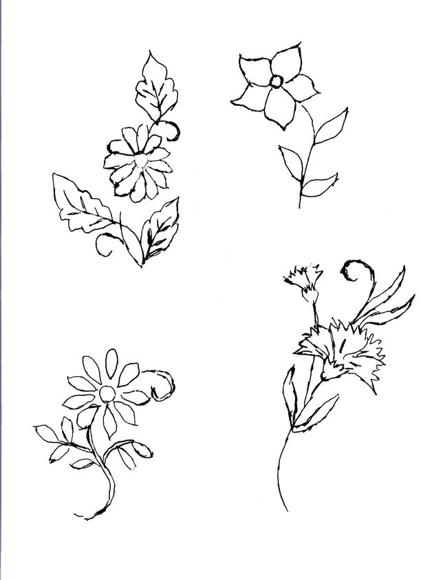 Dibujos de flores para bordar - Imagui