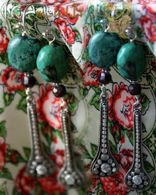 długie srebrne kolczyki z turkusami