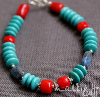 bransoletka turkus koral  lapis lazuli