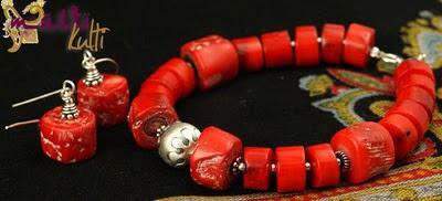 czerwone korale bransoletka