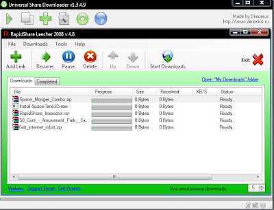 Universal Share Downloader v1.3.4.9 - RapidShare Leecher 2008 Ultimate Premium Special Pro Updated