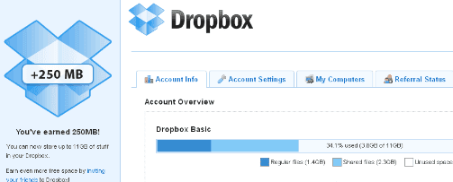 Get Dropbox 3,25 GB Space