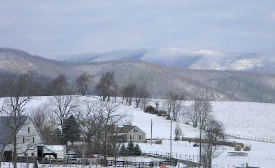 Farm in snowy mountain