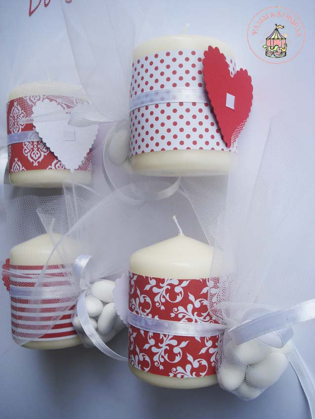 All about hearts Heart decorated candles for wedding favours