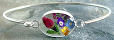 Real Flower and Sterling Silver Bangle