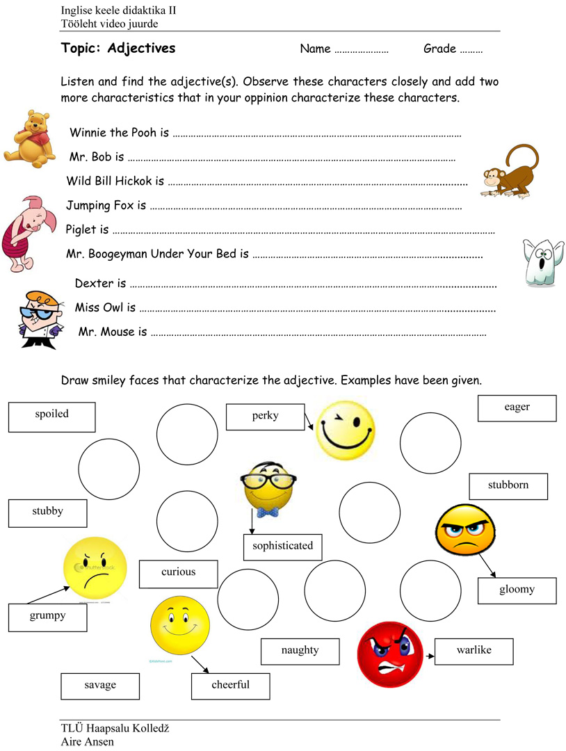 Free Printable Adjectives Worksheets For Kindergarten adjective – Adjectives Worksheets for Kindergarten