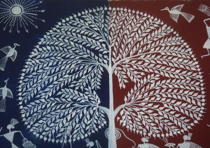 Tree of life warli painting matsyacrafts tree of life warli painting from maharashtra warli paintings are indigenous of maharashtra the most significant auspicious paintings in tribal altavistaventures Image collections