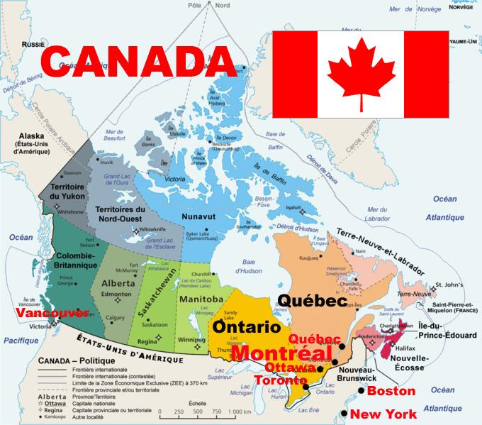 Canada Ville Anglophone Carte