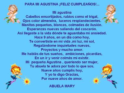 PARA AGUSTINA CON TODO MI AMOR SU ABUELA MARY