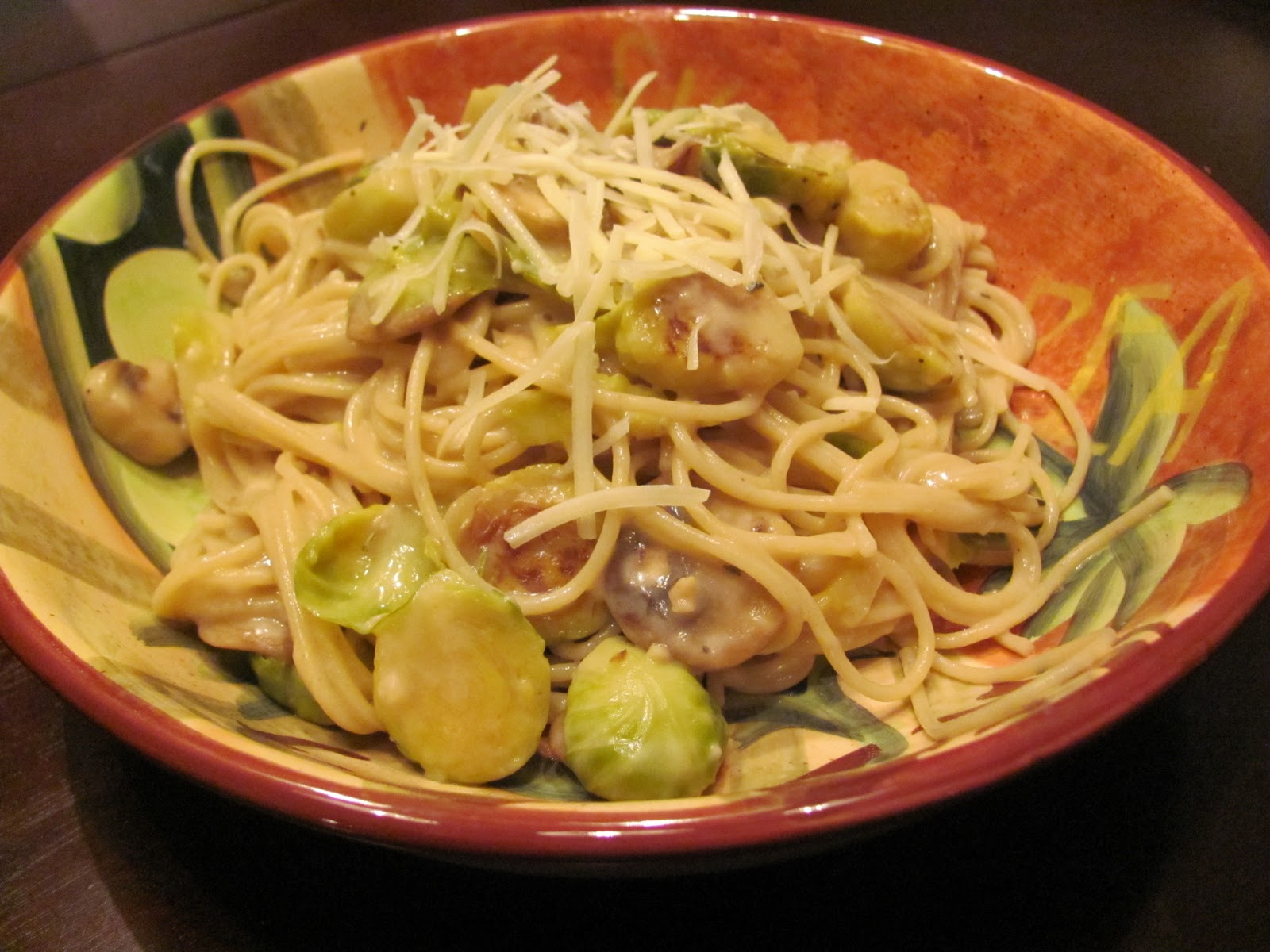 The Mansfields: Creamy Fettuccine with Mushrooms & Brussel Sprouts
