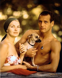 Joanne Woodward, Paul Newman, and their dog (1958)