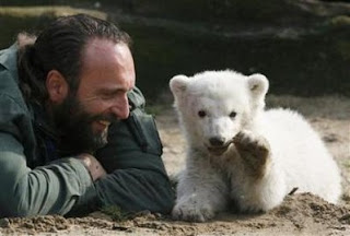 Baby Knut polar bear with foster father, Thomas Dörflein