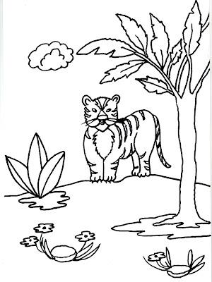 Dibujo gratis para imprimir y colorear de tigres 圖片, 上色