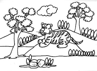Dibujo gratis para imprimir y colorear de tigres   2008