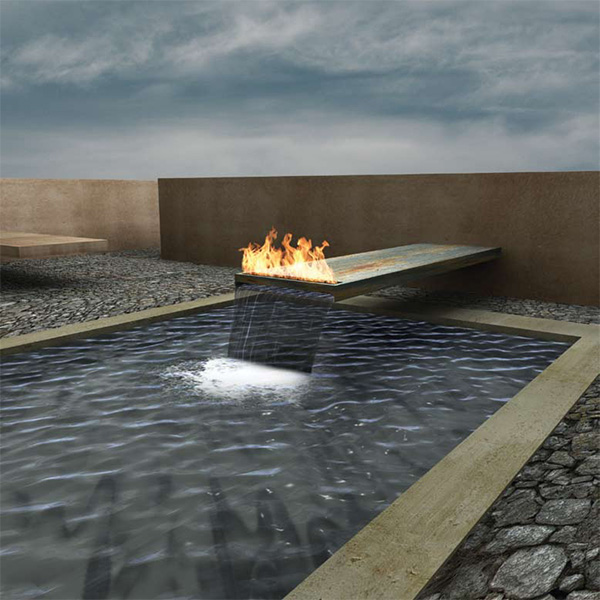 Home interior design meditation space fire features design for Fire and water features