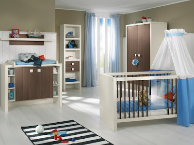 White and Wood Baby Nursery Furniture Sets 2