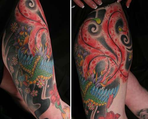 Phoenix Bird Leg Tattoo