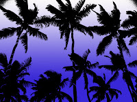 Palm Tree Silhouettes with Blue Gradient