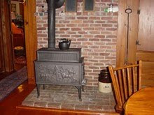 Jotul Woodstove and Brick Hearth