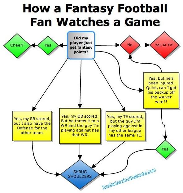 How a Fantasy Football Fan Watches a Game (Flowchart)
