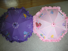 pink and purple parasols