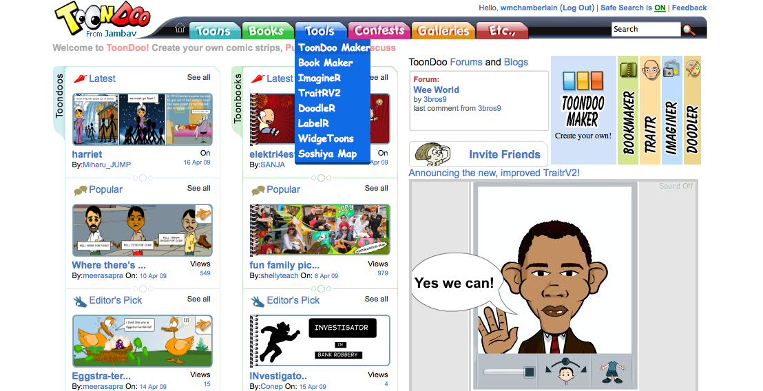 Mr c 39 s class blog using toondoo with journey to the for Websites you can draw on