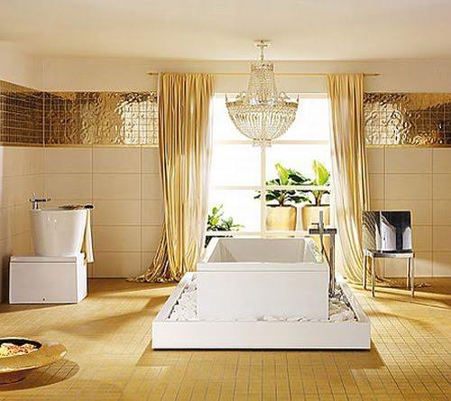 Colores para decorar ba os dorados un lujazo for Colores de cortinas para paredes blancas